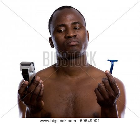 African-american man with razor, isolated on white