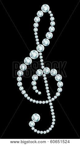 Diamond Treble Clef Sign
