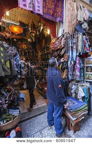 Commerce Of Arab Products In The Called Street Of The Tearooms, Granada, Andalusia, Spain