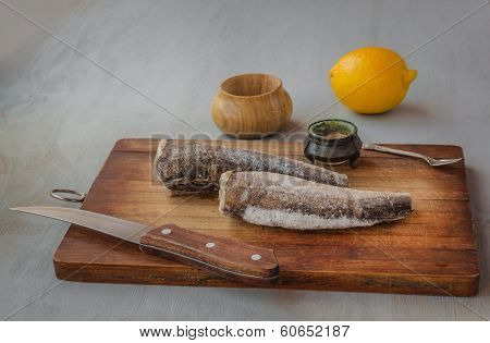 Carcass Of Hake Silvery On A Table