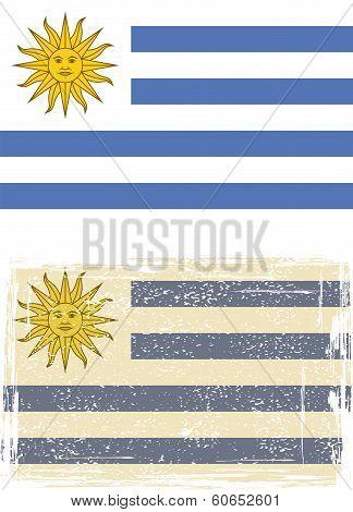 Uruguayan grunge flag. Vector