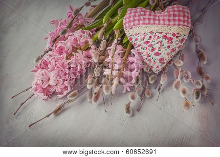 Pink Hyacinth, Willow Twigs And  Heart