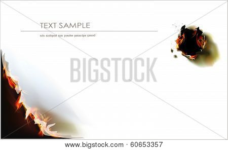 Paper background with burned hole and flame