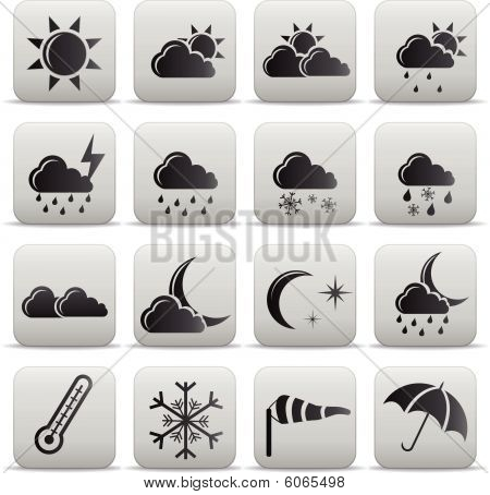 Weather Icons Grey Buttons