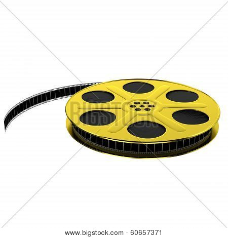 Golden film reel with filmstrip, 3d