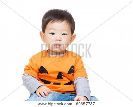 Asian baby boy with halloween dressing