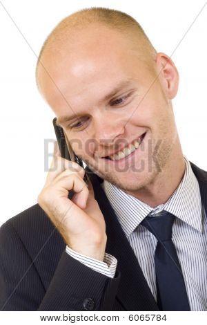 Empresário bem sucedido fazer chamada de telefone