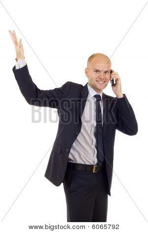 Chamando com celular e gesticulando sucesso