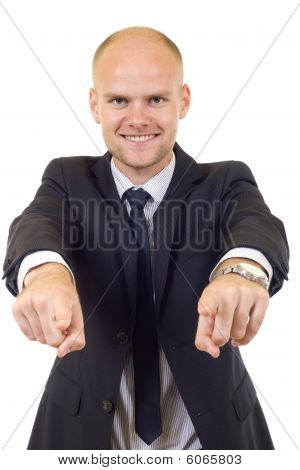 Businessman In Suit And Tie Pointing The Fingers