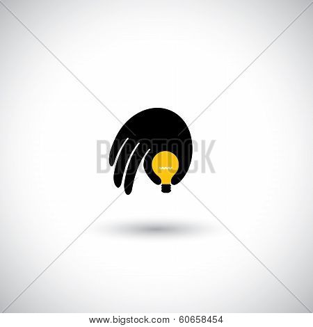 Hand With Light Bulb Icon - Genius Mind With Ideas Concept Vector.