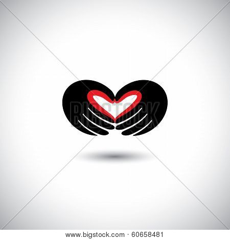 People In Love Concept Vector - Heart Shape From Hands Of Two People