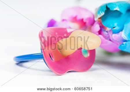 Pacifier (soother) with multicolored tulips