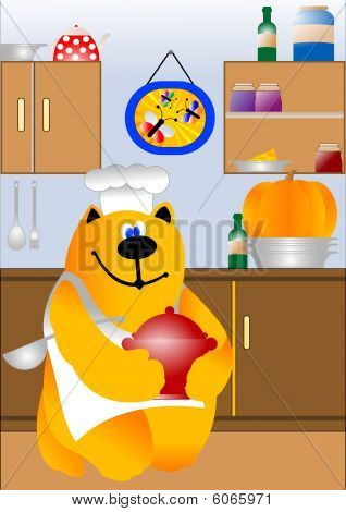 Kitchen scene with cooking cat chef