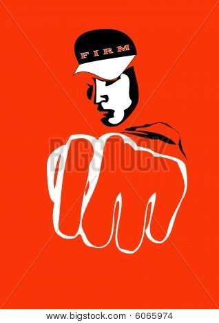 Hooligan with fist vector illustration