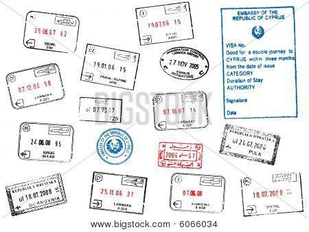 Set of different passport visa stamps