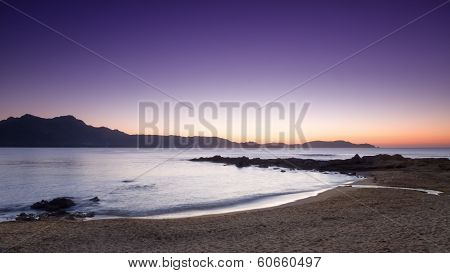 Purple Sunset At Arinella Plage In Corsica
