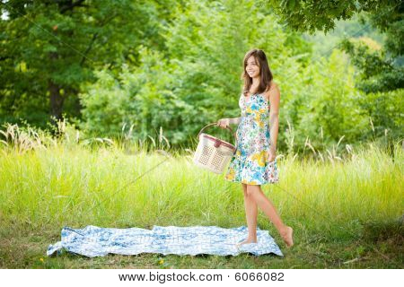 Beautiful Woman At Picnic