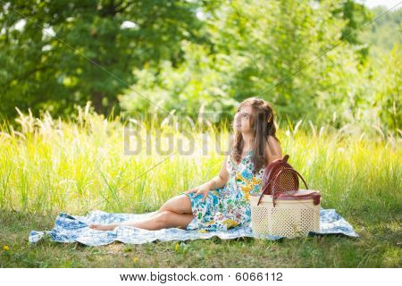 Beautiful Woman At Picnic