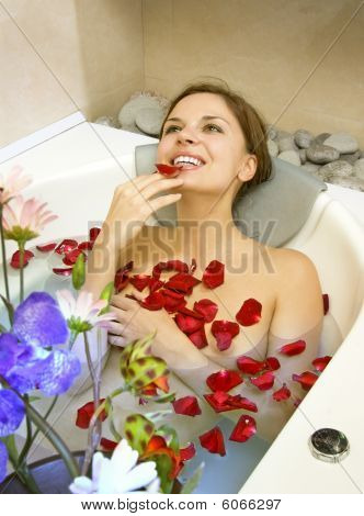 Woman In Rose-petals