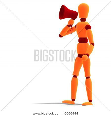 Orange / Red  Manikin Announcing Something