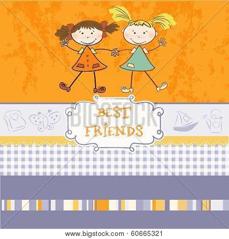 Two Little Girls Best Friends