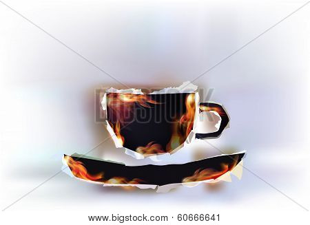 Ripped paper collection and flames, cup of tea or coffee