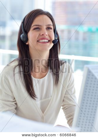 Portrait Of A Businesswoman Working In A Call Center
