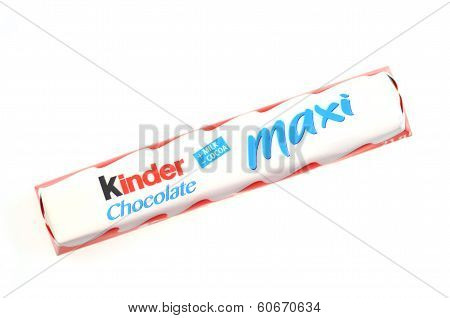 Kinder chocolate bar isolated on white background.