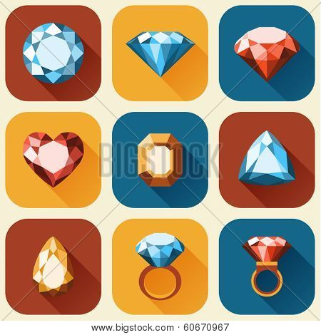 Flat diamond icons collection - vector eps10