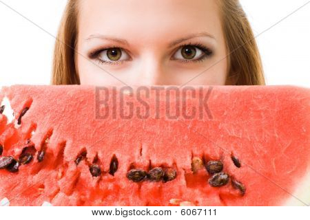 Face Of A Woman With Watermelon