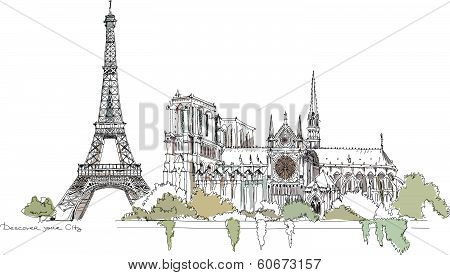 Paris illustration, Sketch collection Eiffel Tower and Notre Dame cathedral