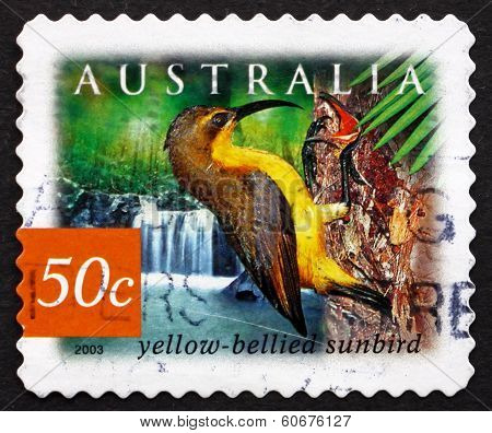 Postage Stamp Australia 2003 Yellow-bellied Sunbird, Bird