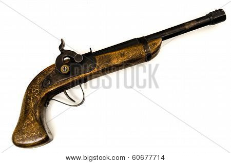 Old Wooden Gun Isolated