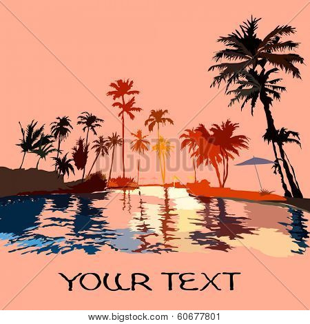 Beach in the tropics at sunset, picture with space for text, vektor illustration.