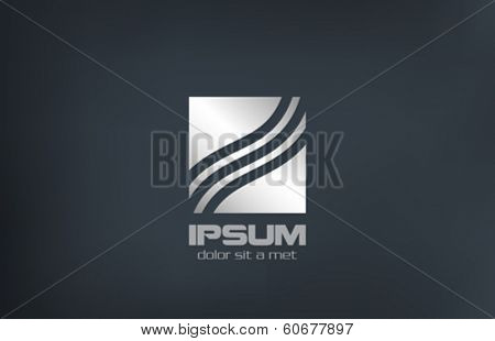 Business abstract vector logo design template. Metal Silver Square symbol. Wave Charts concept icon.