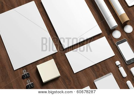 Blank Stationery On Wooden Background