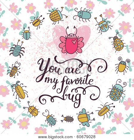 Stylish spring card in vector. Cartoon bugs and flowers in summer colors