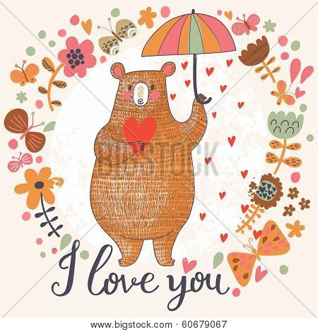 Concept romantic card with cute bear and the rain made of hearts in flowers. Bright invitation card in vector