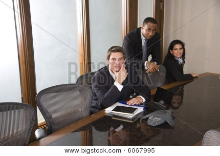 Multi-ethnic business team in boardroom