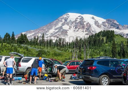 Hikers Mount Rainier Washington