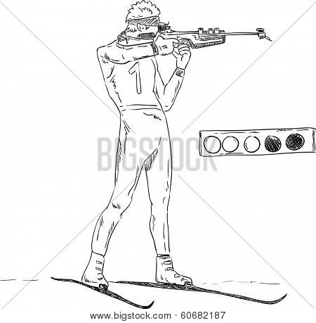 vector - Biathlon athlete shooting and target