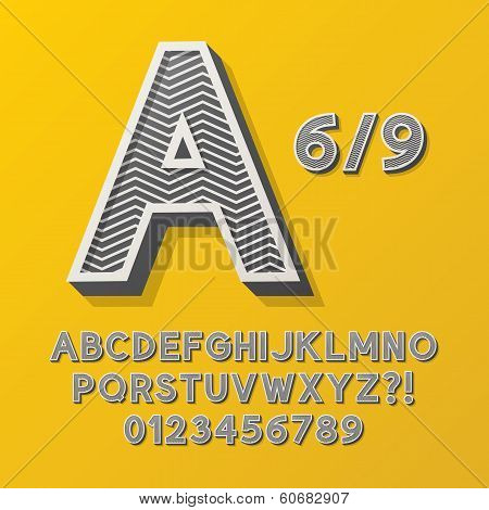 Retro Stripe Style 6/9 Alphabet And Numbers, Eps 10 Vector Editable, No Clipping Masks