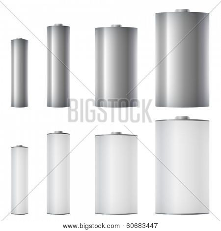 Standard batteries of different sizes vector template.
