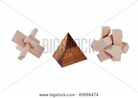 Wooden Brain Teasers On White Background
