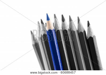 Pile Of Sharp Colored Pencils, With Different Hues