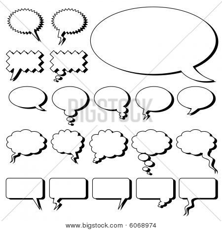 A set of comic bubble templates