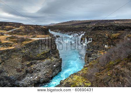 Hraunfossar Waterfall, Northwest Iceland