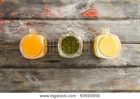 Healthy Tropical Fruit Juice On A Picnic Table