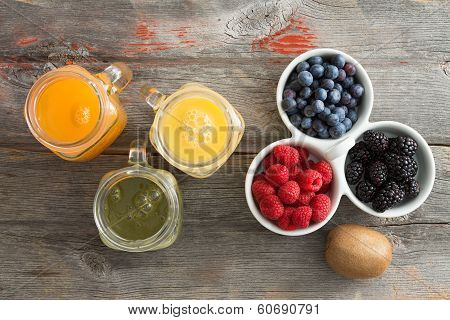 Fresh Fruit Juice With A Dish Of Mixed Berries