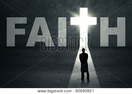 Businessman Looking At Faith Door